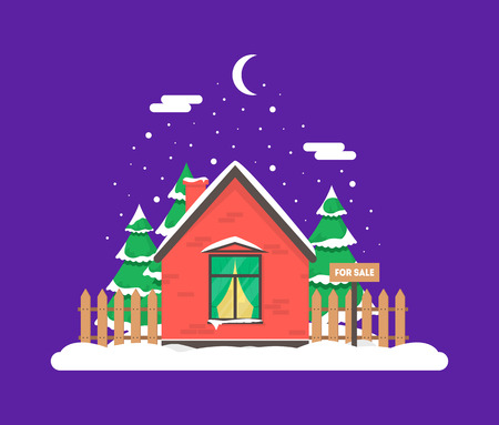 Winter night scene with house, Christmas trees and snowfall. Holiday frozen background for decoration card, invitation, greeting, poster, postcard. Real estate snowy concept. Village in December time.