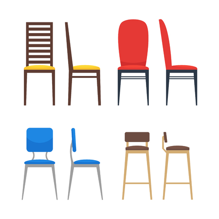 Colorful chairs icon set. Home seating furniture for living room or kitchen. Flat stool collection. Side view and front view. Vector illustration on white background. Illustration