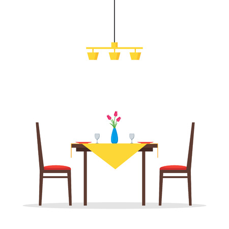 dining table and chairs: Dining table and chairs for two people. Vase with flowers, plates and two glasses. Romantic morning breakfast. Vector illustration in flat style isolated on white background