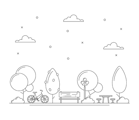 Line art city park illustration with trees, brench, bicycle, table for picnic or chess. Town concept. Thin line art icons. Black and white. Vector isolated on white Ilustrace