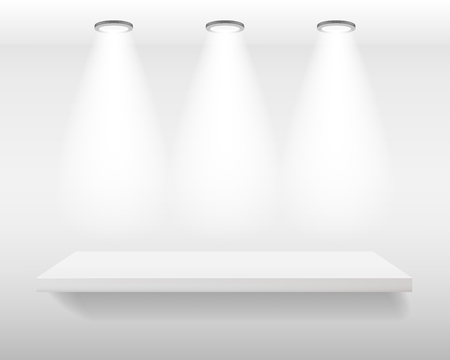 White realistic empty shelf on white wall with top lights. Vector illustration, mockup background Ilustrace