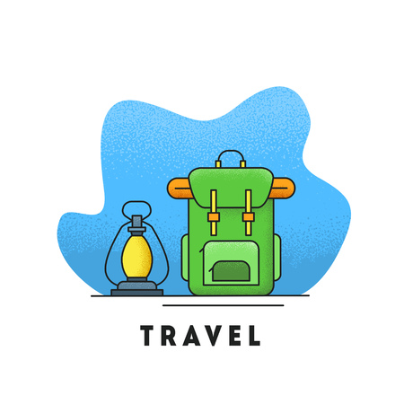 Line icon with summer holiday activity concept. Backpack with kerosene lamp. Colorful vector illustration with grainy style texture. Backpacking and traveling theme. Outdoor activities and lifestyle.