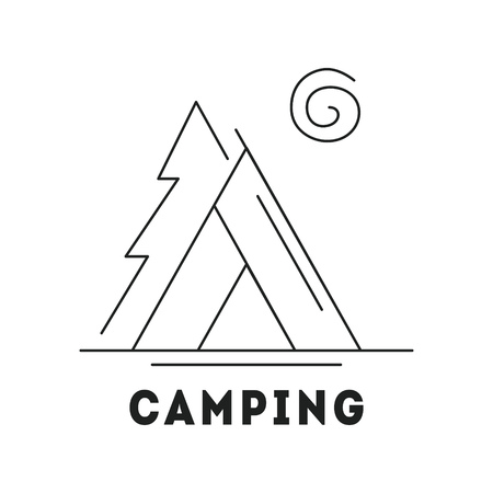 Line icon with summer holiday activity concept. Camp with tent in the forest. Nature background with tree and sun. Outdoor activities and lifestyle. Vector monochrome illustration isolated on white