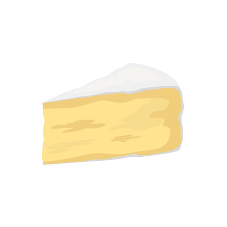 Pieces of cheese isolated on white. Camembert icon. Slice, chunk in cartoon flat style vector. Fresh cheesy dairy product, gourmet food. Farm market product advertising. Delicious cooking ingredient. Ilustração