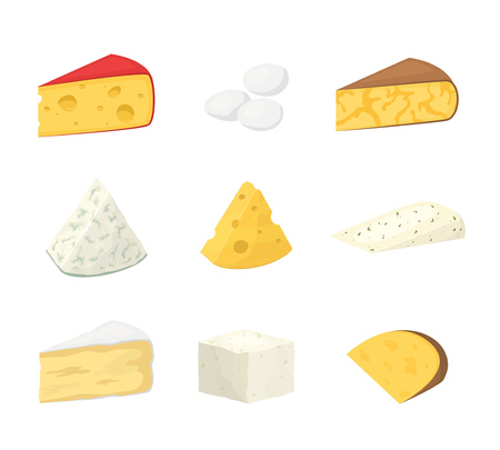 Pieces of cheese isolated on white. Popular kind of cheese icons. Different fresh cheesy dairy products collection, gourmet food. Cheddar, mozzarella, camembert modern flat style vector illustration Ilustração