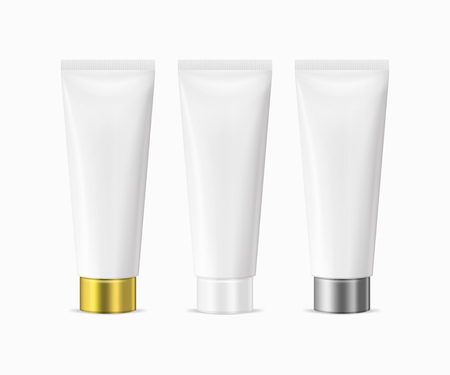 Vector realistic illustration of white blank plastic closed beauty cosmetic tube set isolated on white background. White, gold and silver cap. Design template for graphics, product packaging, mockup. Ilustração