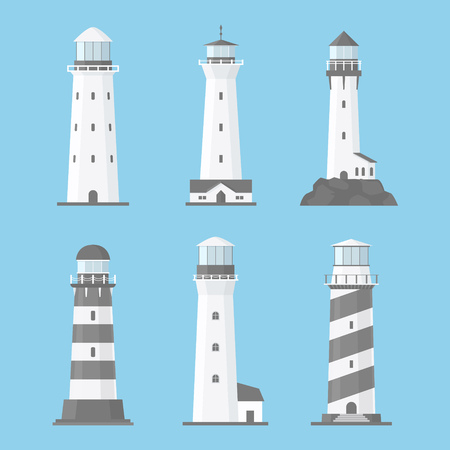 Cartoon flat lighthouses vector set isolated on blue background. Old and modern architecture. Searchlight towers for maritime navigational guidance, path lighting. Sea pharos or beacon collection
