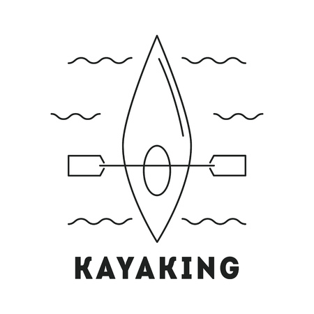 Line icon with summer holiday activity concept. Kayak with paddle in the river. Kayaking and water activities theme. Outdoor sports. Active lifestyle. Vector monochrome illustration isolated on white Ilustração
