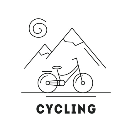Line icon with summer holiday activity concept. Landscapes with mountains, sun and bicycle. Mountain biking, cycling. Outdoor sports. Active lifestyle. Vector monochrome illustration isolated on white Ilustração