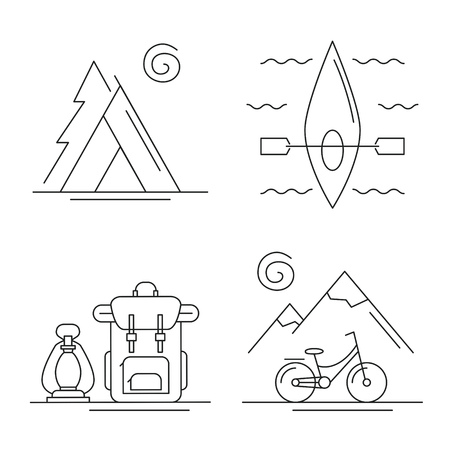 Line icons with camping, traveling and activities concept set. Landscapes with mountains and bicycle, kayak in the river, camp with tent in the forest, backpack with kerosene lamp. Vector illustration