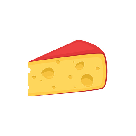 Pieces of cheese isolated on white. Edam or gouda icon. Slice, chunk in cartoon flat vector. Fresh cheesy dairy product, gourmet food. Farm market product advertising. Delicious cooking ingredient