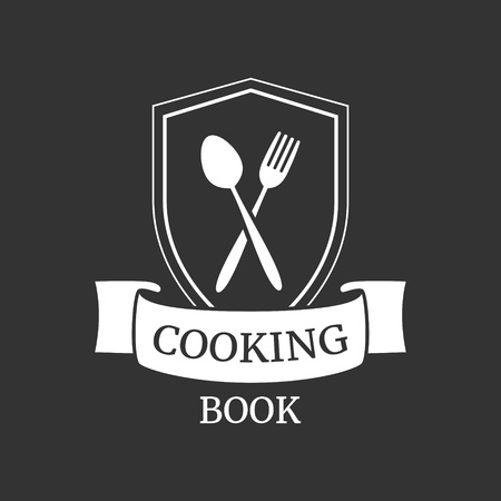 Cooking book or food studio logo. Shield with crossed spoon and fork. Flat vector