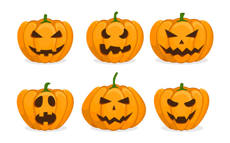 Set of orange pumpkins.Carved scary pumpkins. Elements for autumn Halloween holiday celebration