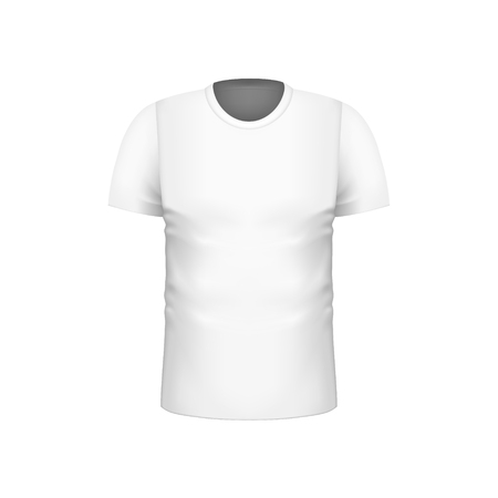 Realistic blank white men short sleeve T-shirts template for brand design. Fashion clothes. Vector illustration of unisex shirt with round neck.