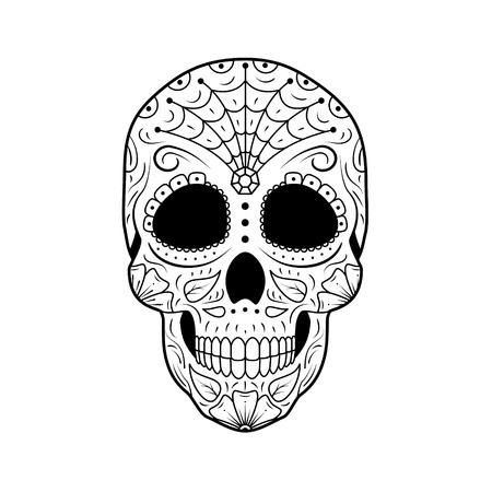 Teschio di zucchero del giorno dei morti in bianco e nero con ornamento floreale dettagliato. Simbolo messicano calavera. Illustrazione vettoriale di linea disegnata a mano. Schizzo tatuaggio donna con ragnatela, motivo, fiori e foglie
