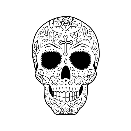 Black and white Day of The Dead Sugar Skull with detailed floral ornament. Mexican symbol calavera. Hand drawn line vector illustration. Tattoo sketch with cross, pattern, flowers and leaves.