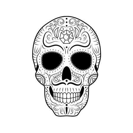 Día de los muertos en blanco y negro Sugar Skull con ornamentos florales detallados. Calavera símbolo mexicano. Ilustración de vector de línea dibujada a mano. Dibujo de tatuaje de hombre con cejas torcidas y bigote, patrón. Ilustración de vector