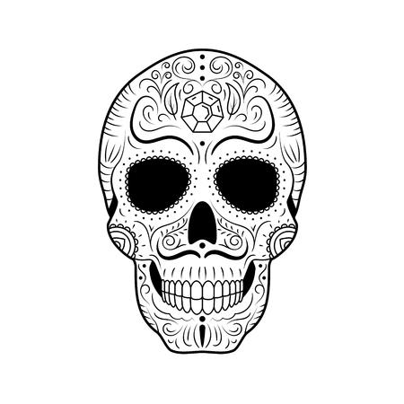 Teschio di zucchero del giorno dei morti in bianco e nero con ornamento floreale dettagliato. Simbolo messicano calavera. Illustrazione vettoriale di linea disegnata a mano. Schizzo del tatuaggio dell'uomo con sopracciglia e baffi intrecciati, motivo. Vettoriali