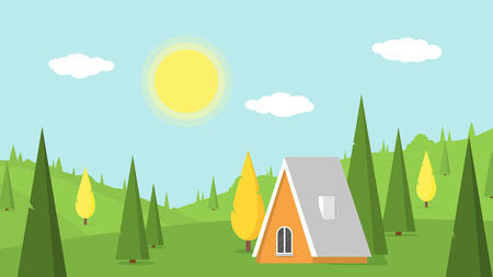 Village landscape with green lawns, hills and country house under blue sky with white clouds. Rural or forest area. Vacation in the countryside. Vector summer or spring nature background illustration. Ilustração