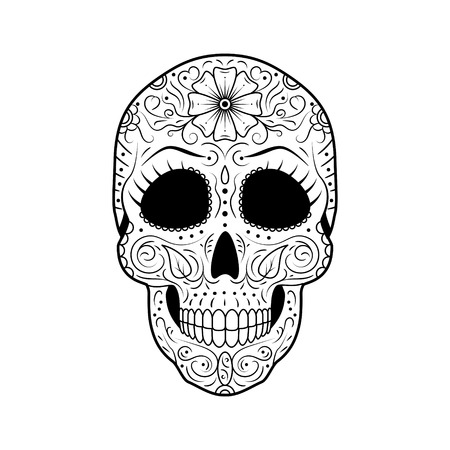 Black and white Day of The Dead Sugar Skull with detailed floral ornament. Mexican symbol calavera. Hand drawn line vector illustration. Woman tattoo sketch with eyelashes, pattern, flowers and leaves Imagens - 114686936