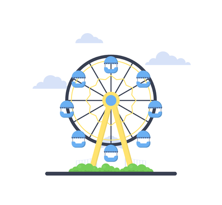 Colorful ferris wheel from amusement park with green bush and blue clouds on white background. Family fun and entertainment theme. Attraction symbol. Flat vector design for flyer, poster or banner.