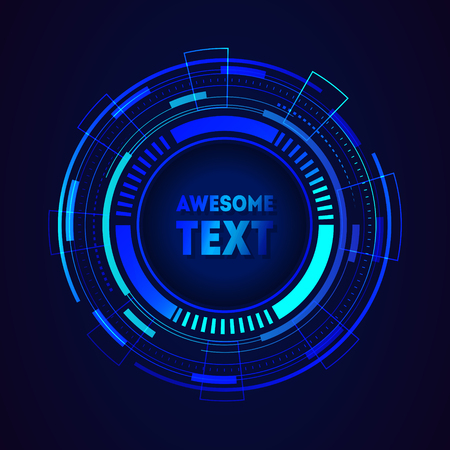 Abstract background with technology circles. Round futuristic frame with place for text. Vector illustration