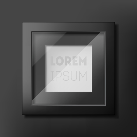 Black photo frame design on gray wall. Perfect for showing your text and picture or products for advertising, creative presentation. Concept mock up. Vector illustration.
