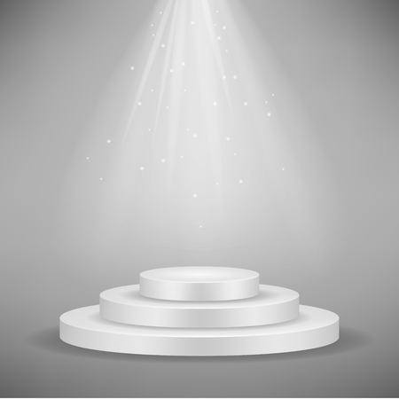 Realistic white round podium, pedestal or platform illuminated by spotlights on gray background. Stage with scenic lights. Ceremony or exhibition theme. Vector illustration.