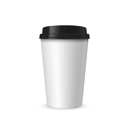 Blank realistic coffee or tea white papet cup mockup with black cover. Template for brand design. Vector illustration isolated on white. Ilustração