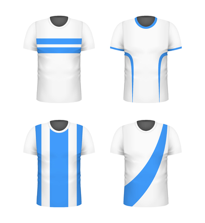 T-shirt with blue print template set. White color. Sport football clothing. Casual men wear. Cotton unisex outfit. Fashionable apparel. Realistic vector illustration.