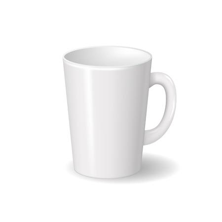 Realistyczny na białym tle biały ceramiczny kubek z cieniami. Do napojów, kawy, herbaty szablon do makiety projektu marki. Ilustracja wektorowa
