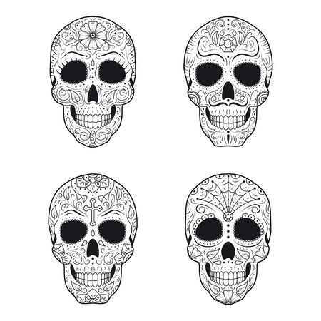 Set Day of The Dead Sugar Skulls with detailed floral ornament. Mexican symbol calavera collection. Hand drawn line vector illustration. Halloween decor. Tattoo sketch with pattern, flowers and leaves Ilustrace