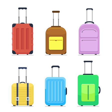 Colorful flat style travel suitcases on wheels. Luggage, journey package icons set. Vector illustrations isolated on white background.