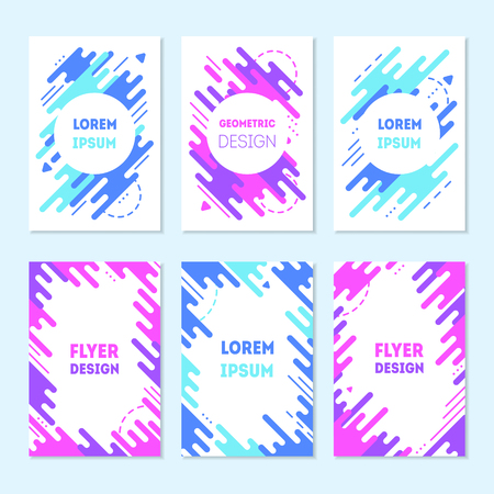Set of colorful trendy cards with flat dynamic design. Blue and purple geometric shapes in motion, Memphis frame. Applicable for covers, posters, flyers and banner. Minimal vector illustrations. Ilustração