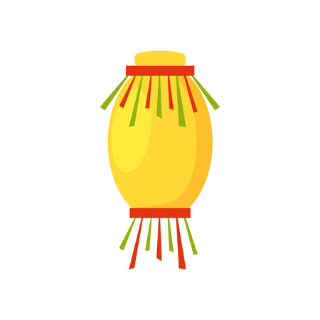 Colorful flat paper street Chinese lantern. Holiday decorative graphic design element. Hanging light with fringe. China festive decor object isolated on white background. Vector illustration.