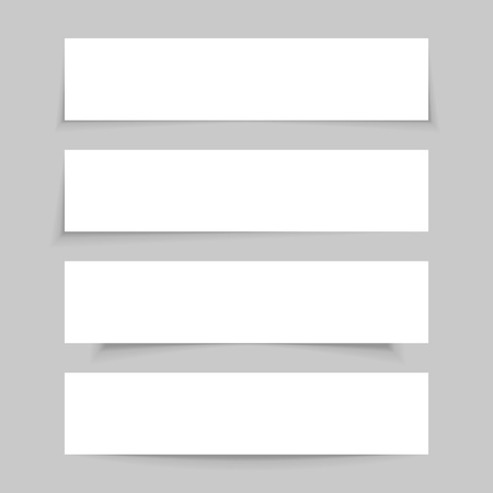 White empty paper mock up, set of blank banners with realistic transparent shadows, isolated on gray background. Vector illustration.