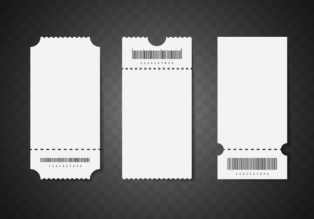 Realistic detailed 3d white blank tickets. Empty template mockup set. Cinema, theater, circus or concert tickets design. Vector illustration on transparent background