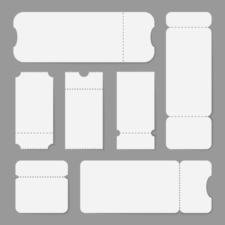 Realistic detailed 3d white blank tickets with shadows. Empty template mock up set, different size and shape. Cinema, theater, circus or concert tickets design. Vector illustration on gray background