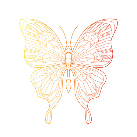 Beautiful butterfly line art illustration with gradient color. Hand drawn doodle ornament of wildlife insect. Creative bohemia concept for invitations, holiday cards or tickets, branding. Vector