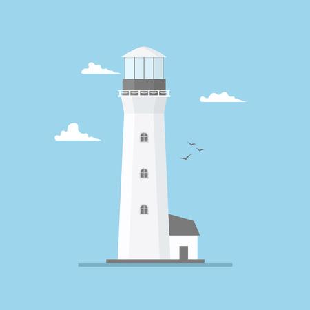 Illustration plate de la construction du phare et du ciel bleu, éclairage du chemin. Tour de projecteur avec mouette pour la navigation maritime des navires. Pharos de mer ou balise. Fond de bord de mer thème marin et océan. Vecteurs
