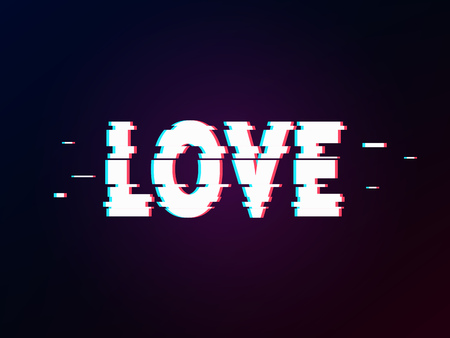 Glowing word love with glitch effect on dark gradient. Background in TV error style. Distorted letters, typography, bug or error for design concepts, wallpapers, presentations, prints, cover. Ilustração