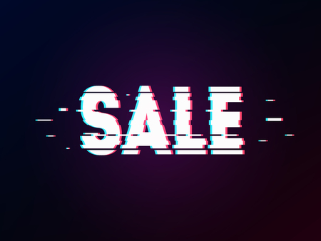 Glowing word sale with glitch effect on dark gradient. Background in TV error style. Marketing and advertisement theme. Distorted letters, typography, bug or error for design concepts, prints, cover. Illustration