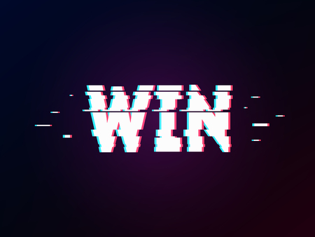 Glowing word win with glitch effect on dark gradient. Background in TV error style. Success and victory theme. Distorted letters, typography, bug or error for design concepts, presentations or cover. Imagens - 124767963