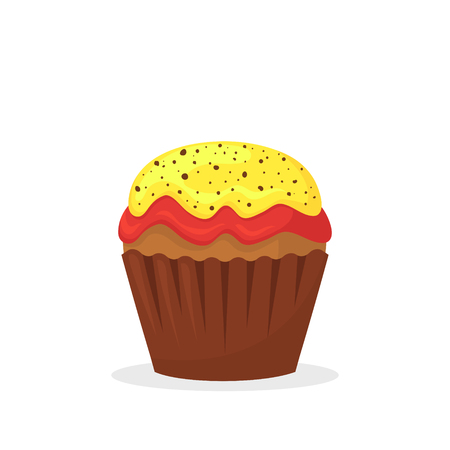Chocolate muffin with yellow and red cream. Sweet food, cupcake with frosting flat vector icon. Delicious dessert. Bakery product and pastry theme. Isolated on white background