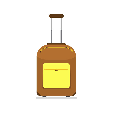 Bright brown and yellow cloth travel suitcase on wheels and with telescopic handle. Business and family summer vacation luggage, journey package icon. Vector flat illustration isolated on white Illustration