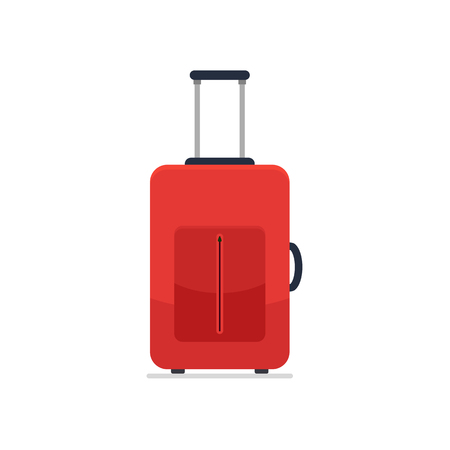 Bright red cloth travel suitcase on wheels and with telescopic handle. Business and family summer vacation luggage, journey package icon. Vector flat illustration isolated on white background. Ilustrace