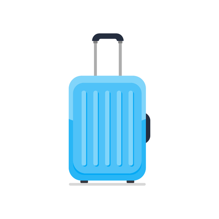 Bright blue plastic travel suitcase on wheels and with telescopic handle. Tourist big bag. Business and family vacation luggage, journey package icon. Flat vector isolated on white background.