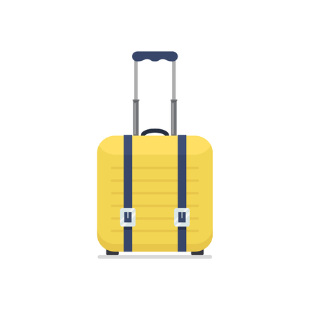 Bright yellow plastic travel suitcase on wheels and with telescopic handle. Business and family summer vacation luggage, journey package icon. Vector flat illustration isolated on white background.