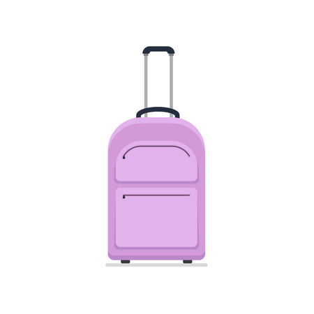 Bright violet cloth travel suitcase on wheels and with telescopic handle. Tourist big bag. Business and family summer vacation luggage, journey package icon. Flat vector isolated on white background.