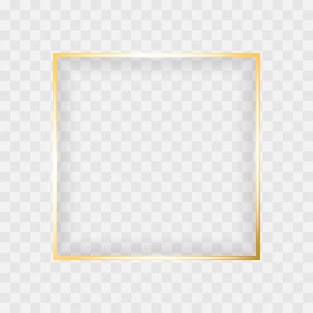 Gold shiny glowing square frame isolated on transparent background. Luxury realistic golden rectangle, banner borders with shadow inside. Vector illustration for creative design, advertising, sales